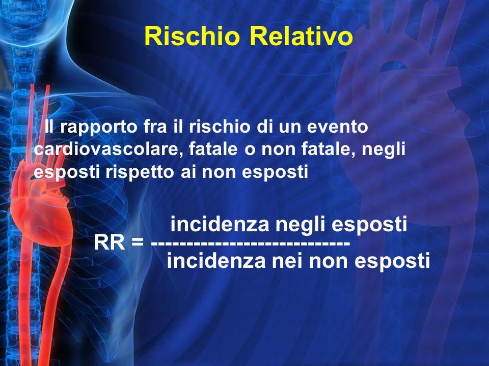 Il rapporto fra il rischio di un evento cardiovascolare, fatale o non fatale, negli esposti rispetto ai non esposti incidenza negli esposti RR = ---------------------------- incidenza nei non esposti Rischio Relativo