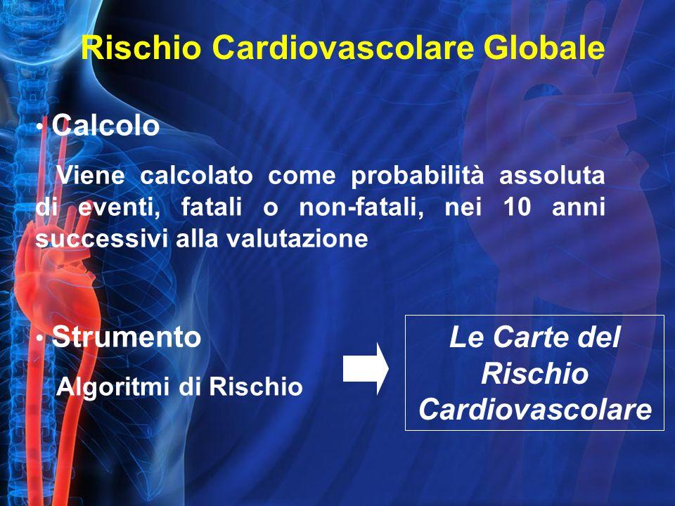 Calcolo Viene calcolato come probabilità assoluta di eventi, fatali o non-fatali, nei 10 anni successivi alla valutazione Strumento Algoritmi di Rischio Le Carte del Rischio Cardiovascolare Rischio Cardiovascolare Globale