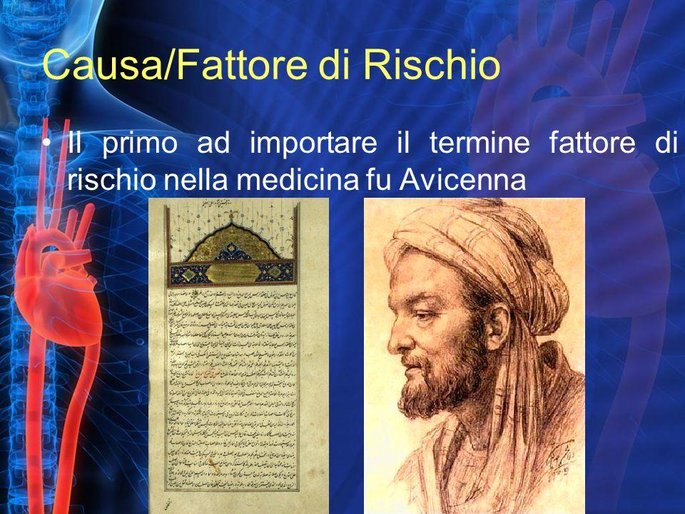 Causa/Fattore di Rischio Il primo ad importare il termine fattore di rischio nella medicina fu Avicenna