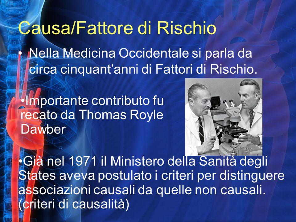 Causa/Fattore di Rischio Nella Medicina Occidentale si parla da circa cinquant'anni di Fattori di Rischio. Importante contributo fu recato da Thomas R