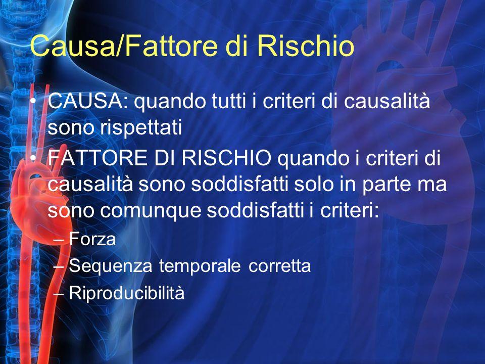 Causa/Fattore di Rischio CAUSA: quando tutti i criteri di causalità sono rispettati FATTORE DI RISCHIO quando i criteri di causalità sono soddisfatti