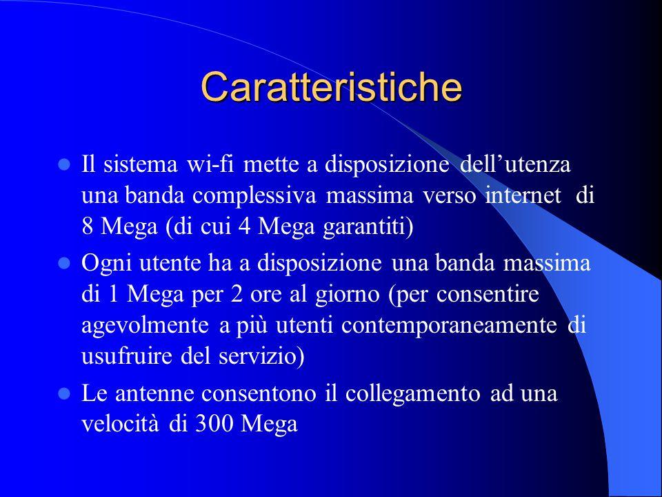 Caratteristiche Il sistema wi-fi mette a disposizione dell'utenza una banda complessiva massima verso internet di 8 Mega (di cui 4 Mega garantiti) Ogni utente ha a disposizione una banda massima di 1 Mega per 2 ore al giorno (per consentire agevolmente a più utenti contemporaneamente di usufruire del servizio) Le antenne consentono il collegamento ad una velocità di 300 Mega