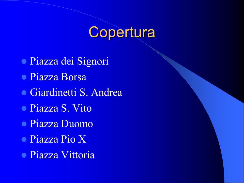 Copertura Piazza dei Signori Piazza Borsa Giardinetti S. Andrea Piazza S. Vito Piazza Duomo Piazza Pio X Piazza Vittoria