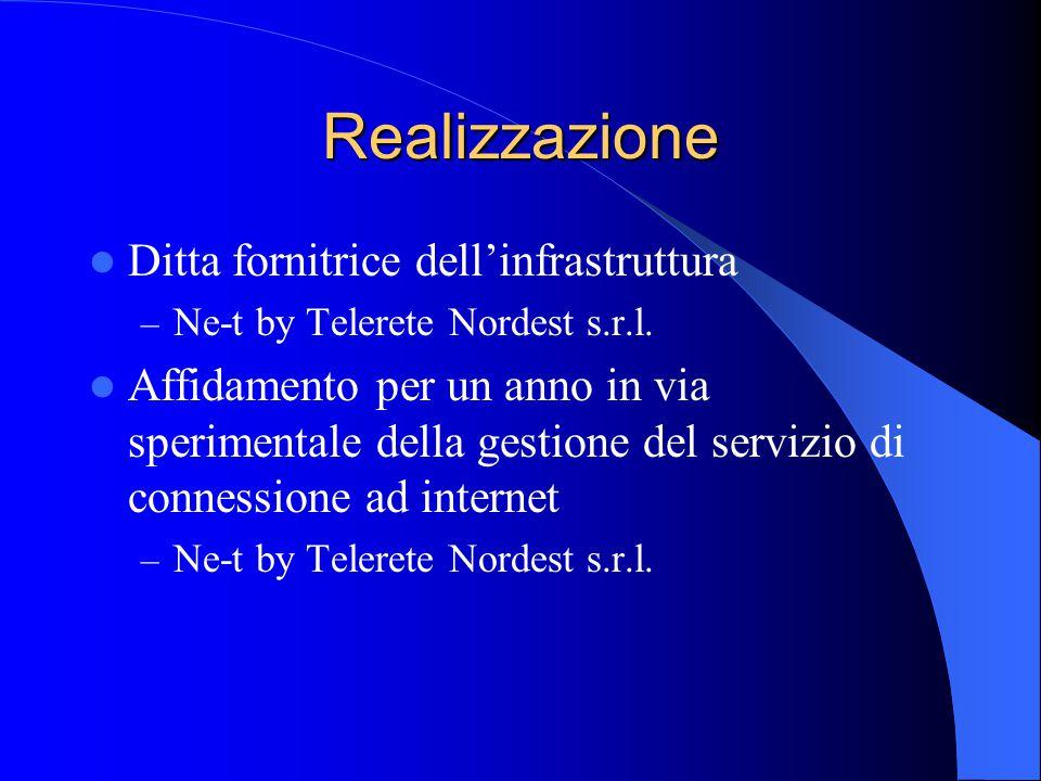 Realizzazione Ditta fornitrice dell'infrastruttura – Ne-t by Telerete Nordest s.r.l. Affidamento per un anno in via sperimentale della gestione del se