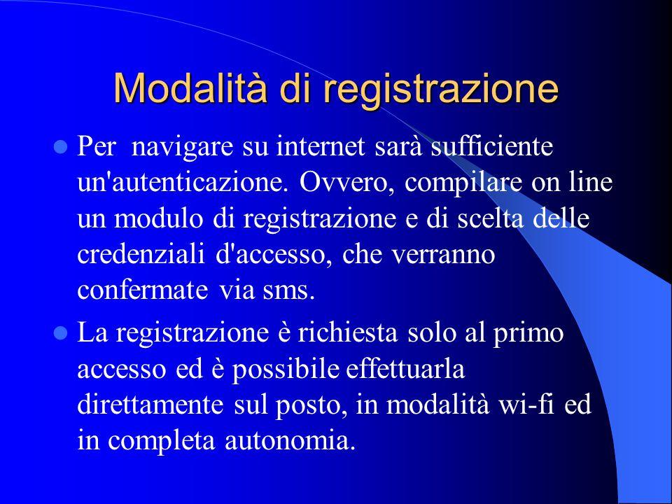 Modalità di registrazione Per navigare su internet sarà sufficiente un'autenticazione. Ovvero, compilare on line un modulo di registrazione e di scelt