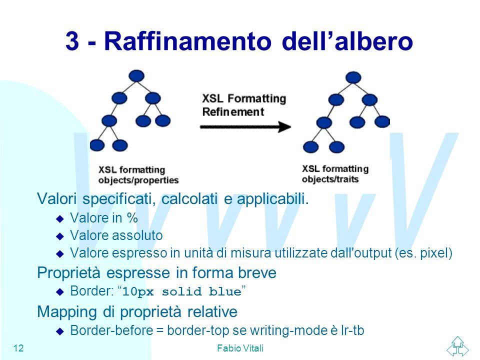 WWW Fabio Vitali12 3 - Raffinamento dell'albero Valori specificati, calcolati e applicabili.