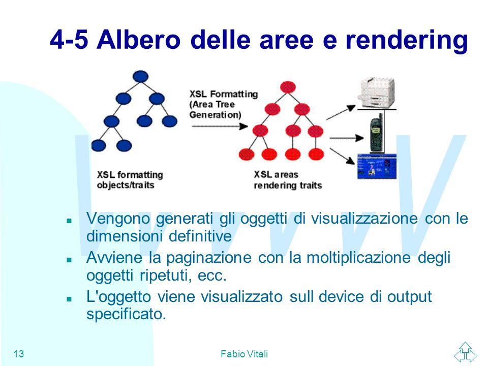 WWW Fabio Vitali13 4-5 Albero delle aree e rendering n Vengono generati gli oggetti di visualizzazione con le dimensioni definitive n Avviene la paginazione con la moltiplicazione degli oggetti ripetuti, ecc.