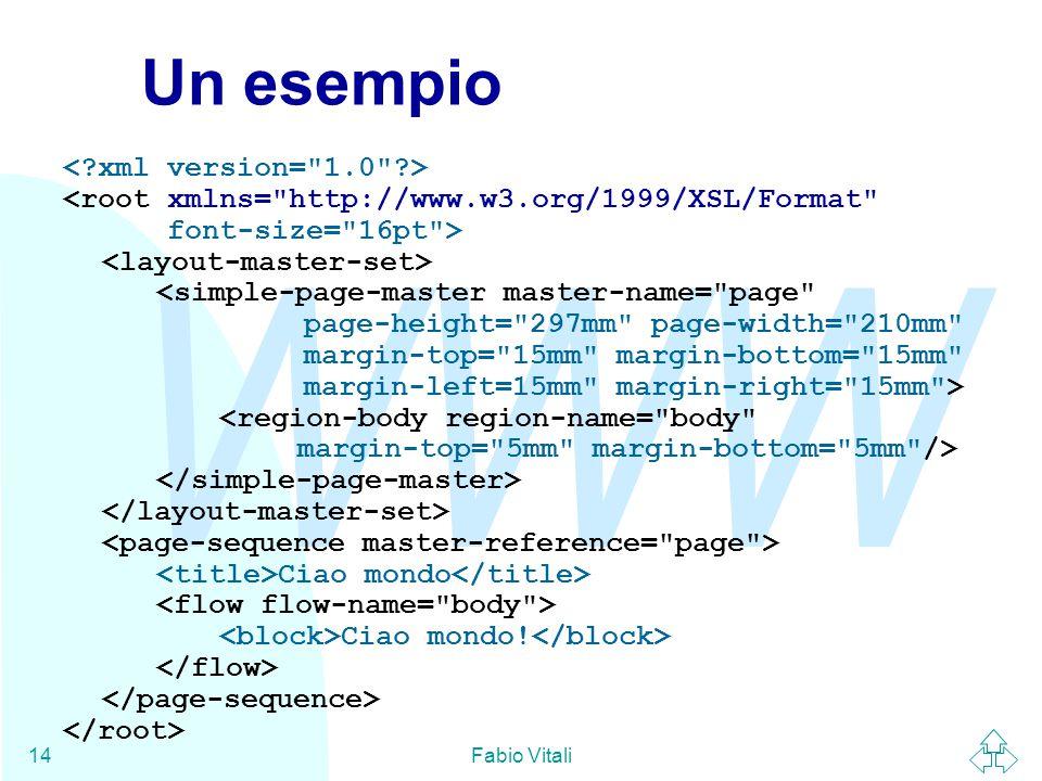 WWW Fabio Vitali14 Un esempio Ciao mondo Ciao mondo!