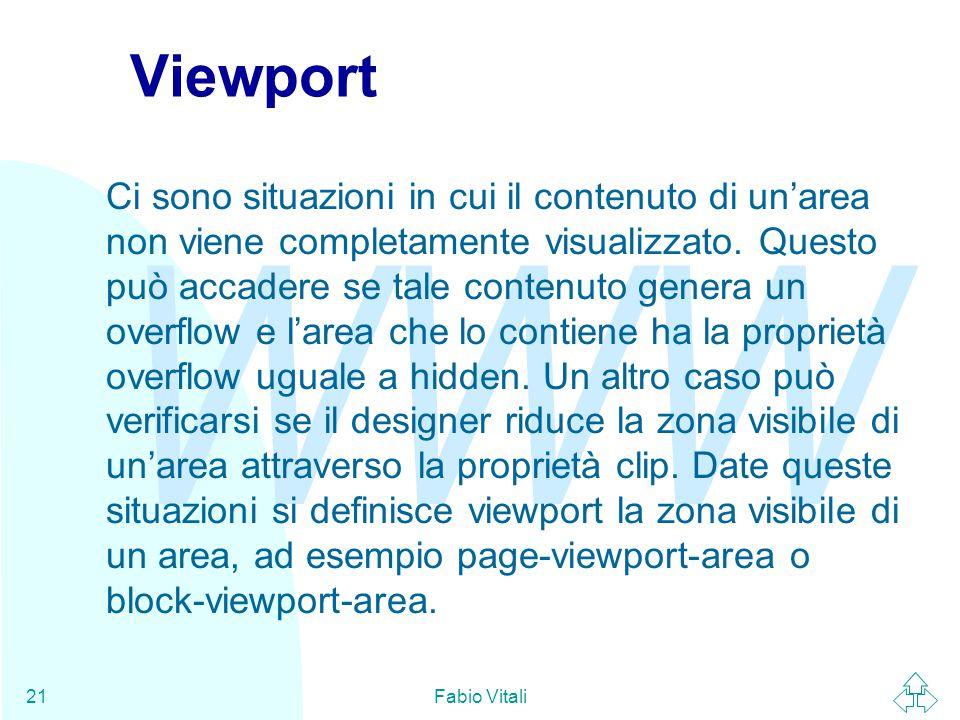 WWW Fabio Vitali21 Viewport Ci sono situazioni in cui il contenuto di un'area non viene completamente visualizzato.