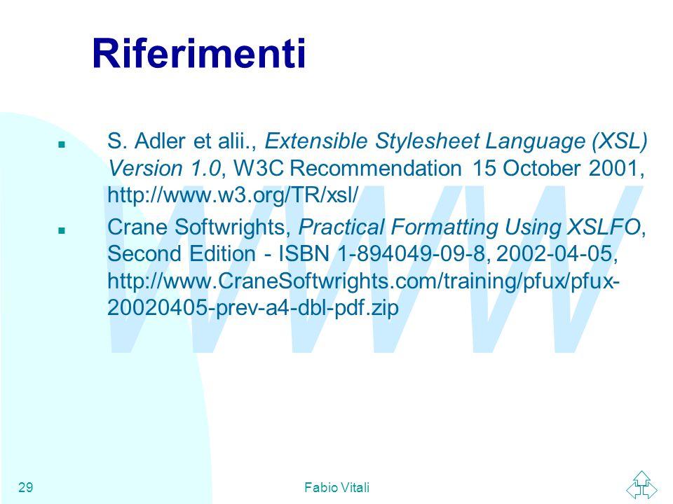 WWW Fabio Vitali29 Riferimenti n S.