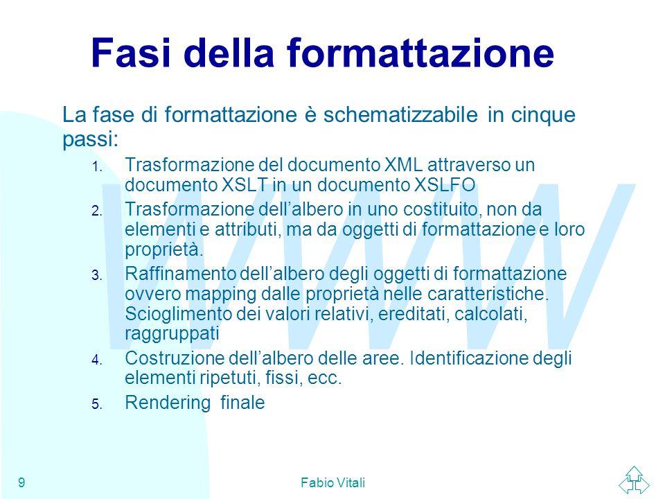 WWW Fabio Vitali9 Fasi della formattazione La fase di formattazione è schematizzabile in cinque passi: 1.