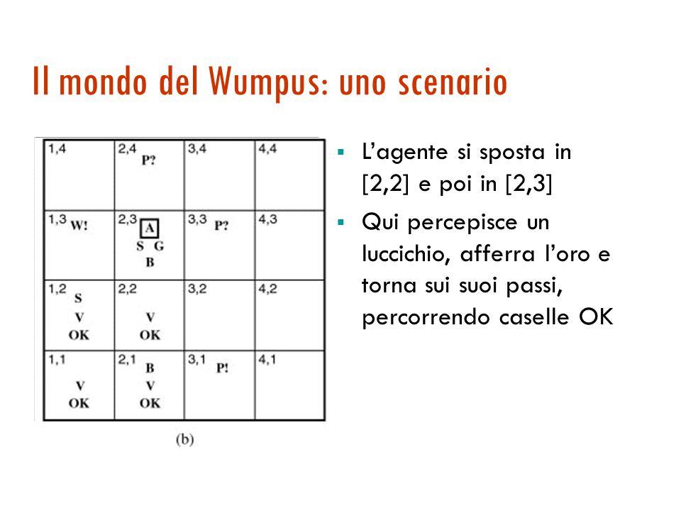 Il mondo del Wumpus: un esempio  Misura delle prestazioni:  +1000 se trova l'oro, torna in [1,1] e esce;  -1000 se muore;  -1 per ogni azione;  -10 se usa la freccia.