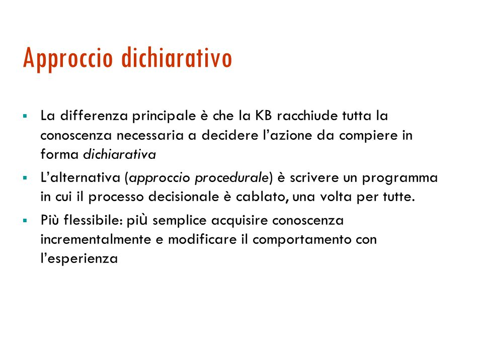 Programma di un agente B.C. function KB-Agent (percept) returns an action static: KB, a knowledge base t, a counter, initially 0, indicating time TELL