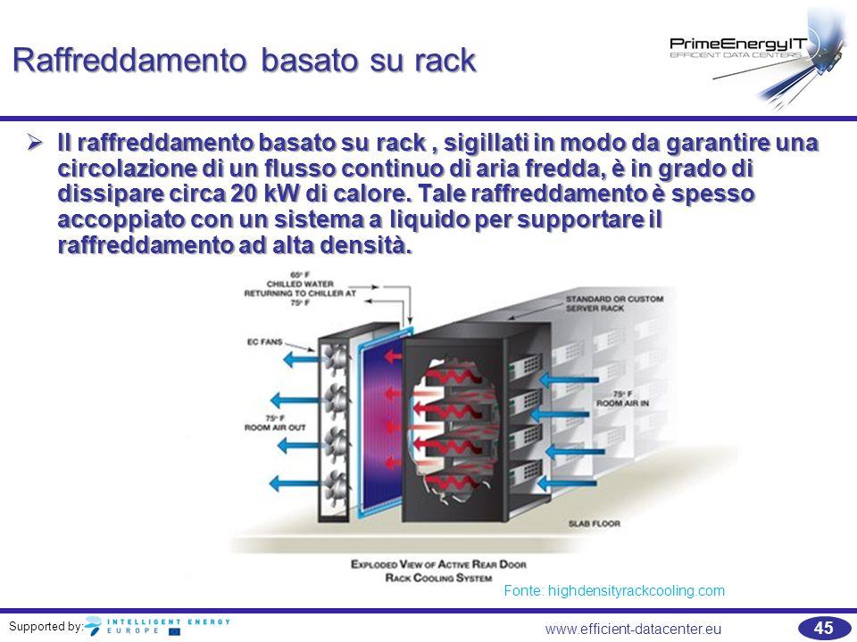 Supported by: 45 www.efficient-datacenter.eu Raffreddamento basato su rack  Il raffreddamento basato su rack, sigillati in modo da garantire una circ