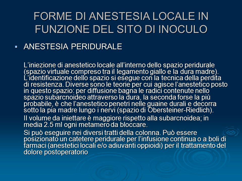  ANESTESIA PERIDURALE L'iniezione di anestetico locale all'interno dello spazio peridurale (spazio virtuale compreso tra il legamento giallo e la dur