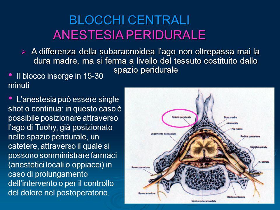 BLOCCHI CENTRALI ANESTESIA PERIDURALE  A differenza della subaracnoidea l'ago non oltrepassa mai la dura madre, ma si ferma a livello del tessuto cos