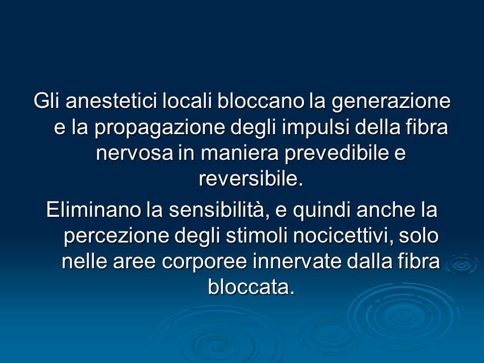 Gli anestetici locali bloccano la generazione e la propagazione degli impulsi della fibra nervosa in maniera prevedibile e reversibile. Eliminano la s