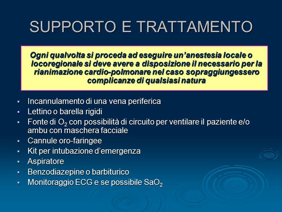 SUPPORTO E TRATTAMENTO Ogni qualvolta si proceda ad eseguire un'anestesia locale o locoregionale si deve avere a disposizione il necessario per la ria