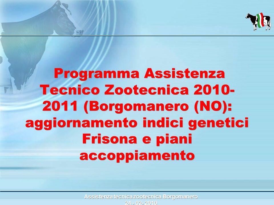 Assistenza tecnica zootecnica Borgomanero 24 - 02- 2010 Programma Assistenza Tecnico Zootecnica 2010- 2011 (Borgomanero (NO): aggiornamento indici genetici Frisona e piani accoppiamento