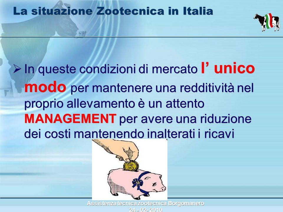 Assistenza tecnica zootecnica Borgomanero 24 - 02- 2010 La situazione Zootecnica in Italia  In queste condizioni di mercato l' unico modo per mantenere una redditività nel proprio allevamento è un attento MANAGEMENT per avere una riduzione dei costi mantenendo inalterati i ricavi