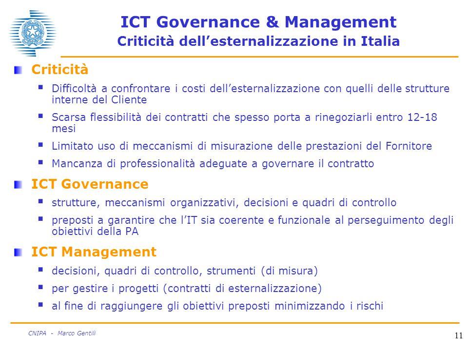 11 CNIPA - Marco Gentili ICT Governance & Management Criticità dell'esternalizzazione in Italia Criticità  Difficoltà a confrontare i costi dell'esternalizzazione con quelli delle strutture interne del Cliente  Scarsa flessibilità dei contratti che spesso porta a rinegoziarli entro 12-18 mesi  Limitato uso di meccanismi di misurazione delle prestazioni del Fornitore  Mancanza di professionalità adeguate a governare il contratto ICT Governance  strutture, meccanismi organizzativi, decisioni e quadri di controllo  preposti a garantire che l'IT sia coerente e funzionale al perseguimento degli obiettivi della PA ICT Management  decisioni, quadri di controllo, strumenti (di misura)  per gestire i progetti (contratti di esternalizzazione)  al fine di raggiungere gli obiettivi preposti minimizzando i rischi