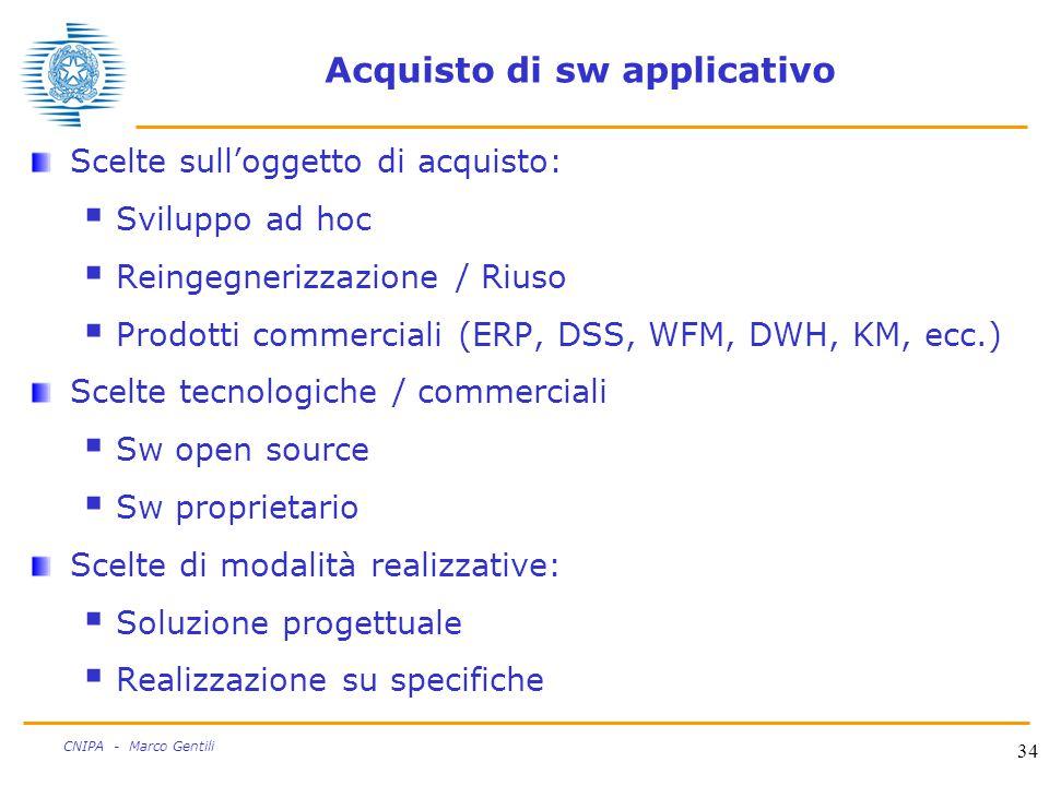 34 CNIPA - Marco Gentili Acquisto di sw applicativo Scelte sull'oggetto di acquisto:  Sviluppo ad hoc  Reingegnerizzazione / Riuso  Prodotti commerciali (ERP, DSS, WFM, DWH, KM, ecc.) Scelte tecnologiche / commerciali  Sw open source  Sw proprietario Scelte di modalità realizzative:  Soluzione progettuale  Realizzazione su specifiche