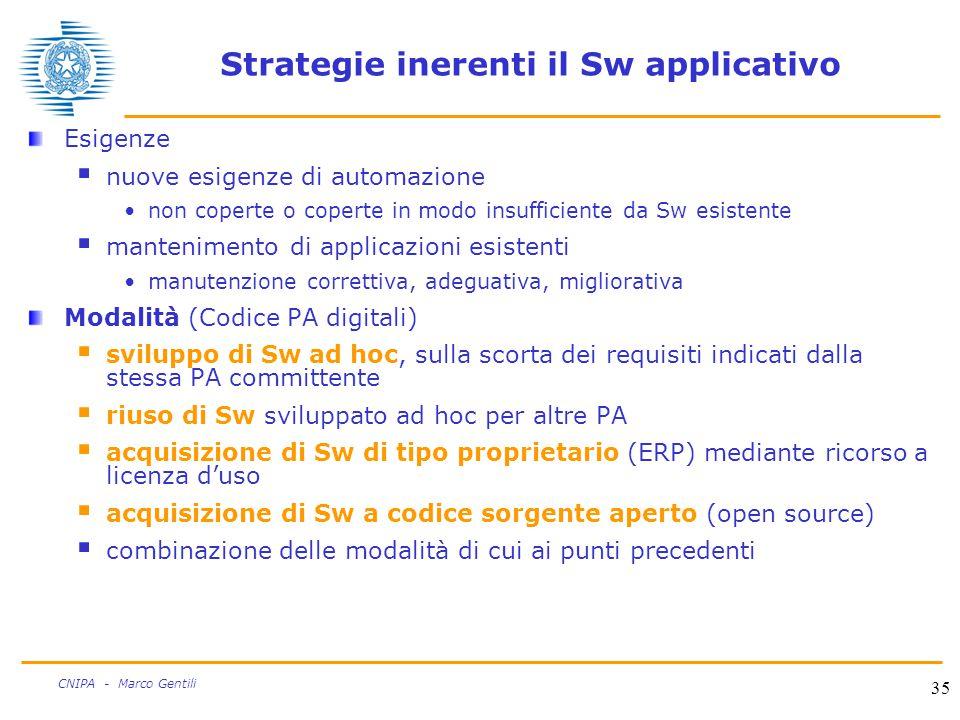 35 CNIPA - Marco Gentili Strategie inerenti il Sw applicativo Esigenze  nuove esigenze di automazione non coperte o coperte in modo insufficiente da Sw esistente  mantenimento di applicazioni esistenti manutenzione correttiva, adeguativa, migliorativa Modalità (Codice PA digitali)  sviluppo di Sw ad hoc, sulla scorta dei requisiti indicati dalla stessa PA committente  riuso di Sw sviluppato ad hoc per altre PA  acquisizione di Sw di tipo proprietario (ERP) mediante ricorso a licenza d'uso  acquisizione di Sw a codice sorgente aperto (open source)  combinazione delle modalità di cui ai punti precedenti