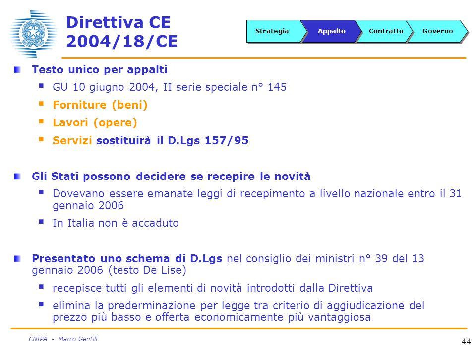 44 CNIPA - Marco Gentili Direttiva CE 2004/18/CE Testo unico per appalti  GU 10 giugno 2004, II serie speciale n° 145  Forniture (beni)  Lavori (opere)  Servizi sostituirà il D.Lgs 157/95 Gli Stati possono decidere se recepire le novità  Dovevano essere emanate leggi di recepimento a livello nazionale entro il 31 gennaio 2006  In Italia non è accaduto Presentato uno schema di D.Lgs nel consiglio dei ministri n° 39 del 13 gennaio 2006 (testo De Lise)  recepisce tutti gli elementi di novità introdotti dalla Direttiva  elimina la prederminazione per legge tra criterio di aggiudicazione del prezzo più basso e offerta economicamente più vantaggiosa GovernoContrattoAppaltoStrategia