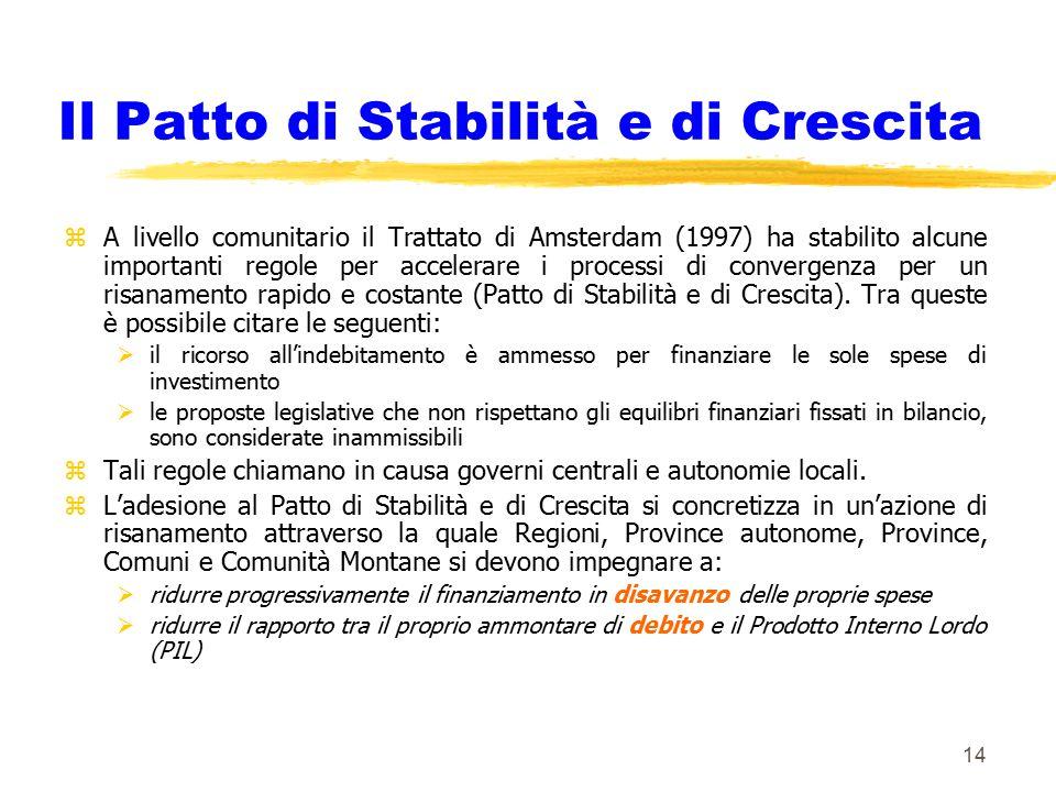 14 Il Patto di Stabilità e di Crescita zA livello comunitario il Trattato di Amsterdam (1997) ha stabilito alcune importanti regole per accelerare i p