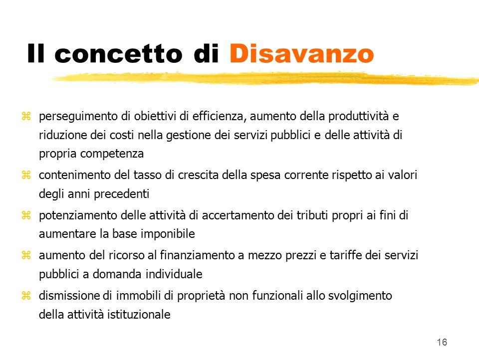 16 Il concetto di Disavanzo zperseguimento di obiettivi di efficienza, aumento della produttività e riduzione dei costi nella gestione dei servizi pub
