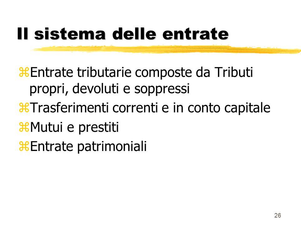 26 Il sistema delle entrate zEntrate tributarie composte da Tributi propri, devoluti e soppressi zTrasferimenti correnti e in conto capitale zMutui e prestiti zEntrate patrimoniali