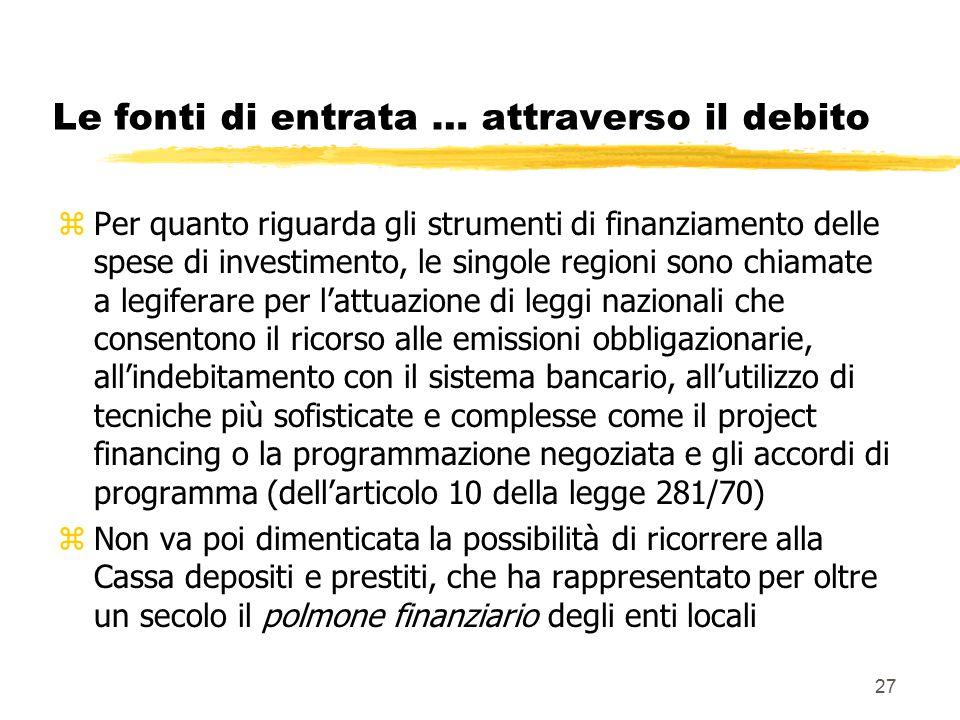 27 Le fonti di entrata … attraverso il debito zPer quanto riguarda gli strumenti di finanziamento delle spese di investimento, le singole regioni sono chiamate a legiferare per l'attuazione di leggi nazionali che consentono il ricorso alle emissioni obbligazionarie, all'indebitamento con il sistema bancario, all'utilizzo di tecniche più sofisticate e complesse come il project financing o la programmazione negoziata e gli accordi di programma (dell'articolo 10 della legge 281/70) zNon va poi dimenticata la possibilità di ricorrere alla Cassa depositi e prestiti, che ha rappresentato per oltre un secolo il polmone finanziario degli enti locali