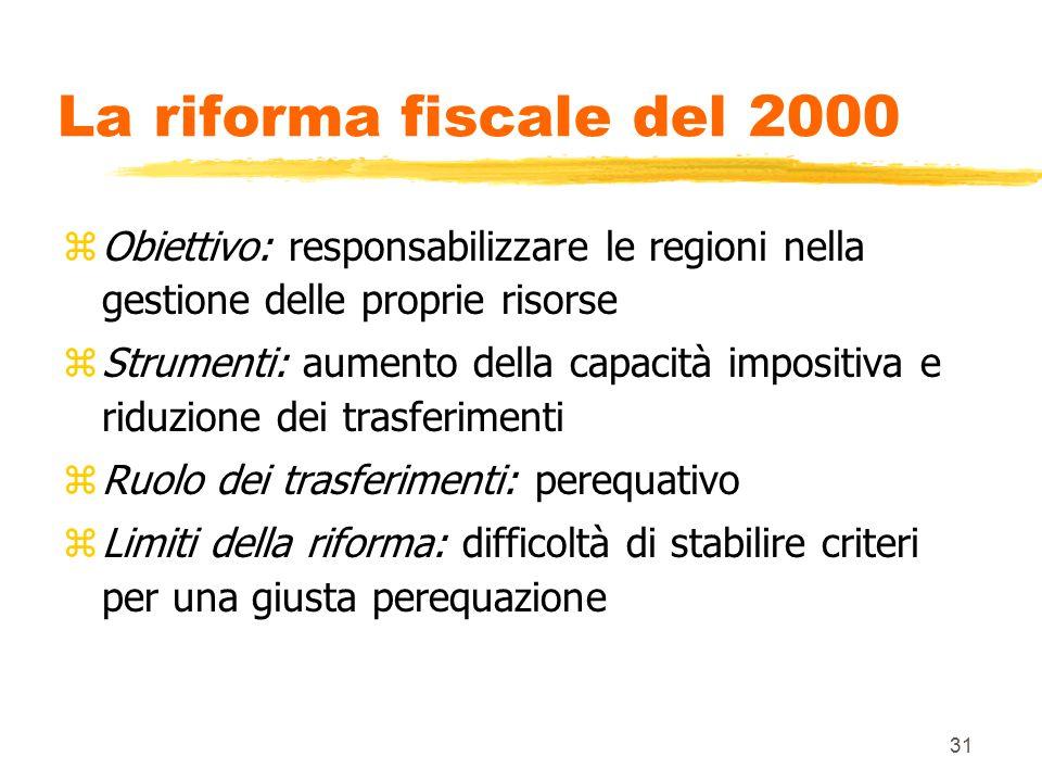 31 La riforma fiscale del 2000 zObiettivo: responsabilizzare le regioni nella gestione delle proprie risorse zStrumenti: aumento della capacità imposi