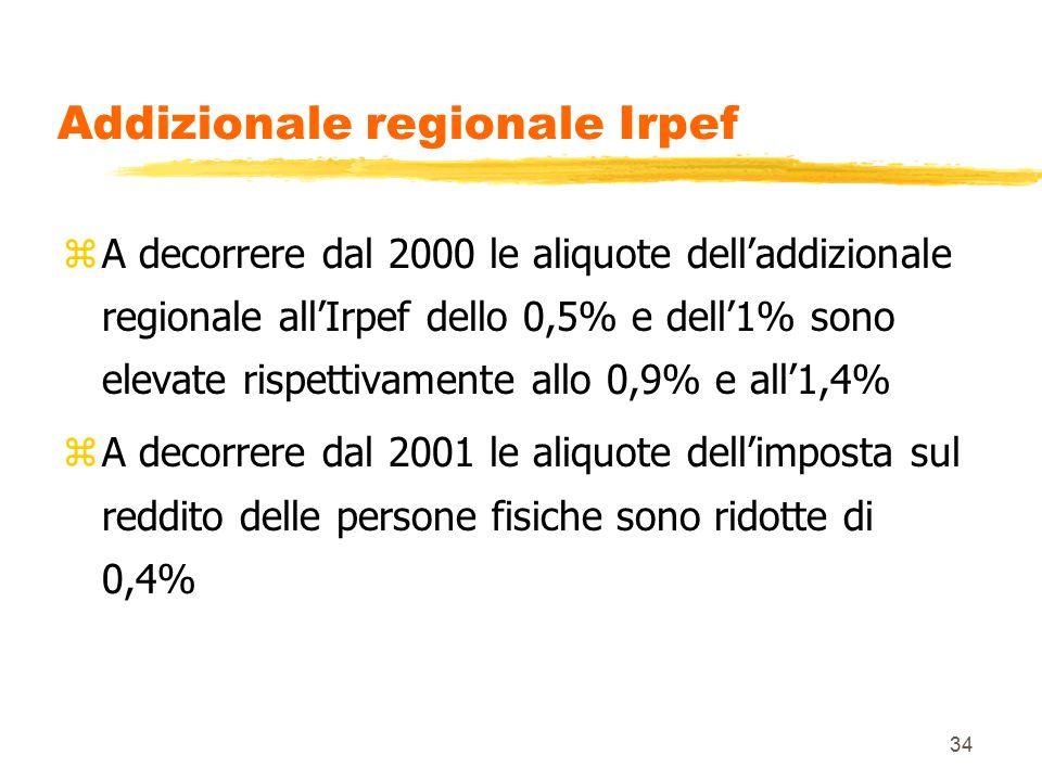 34 Addizionale regionale Irpef zA decorrere dal 2000 le aliquote dell'addizionale regionale all'Irpef dello 0,5% e dell'1% sono elevate rispettivamente allo 0,9% e all'1,4% zA decorrere dal 2001 le aliquote dell'imposta sul reddito delle persone fisiche sono ridotte di 0,4%
