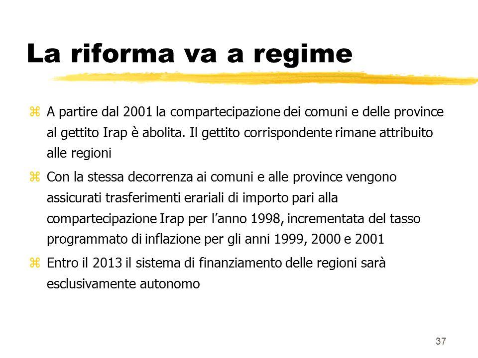37 La riforma va a regime zA partire dal 2001 la compartecipazione dei comuni e delle province al gettito Irap è abolita. Il gettito corrispondente ri