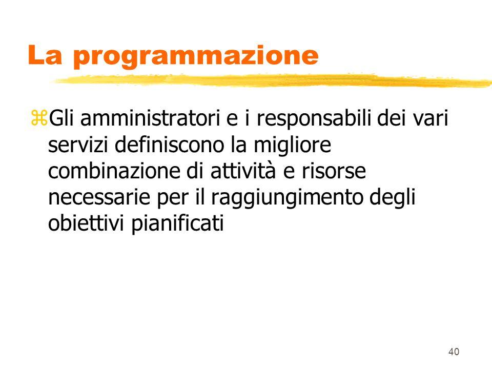 40 La programmazione zGli amministratori e i responsabili dei vari servizi definiscono la migliore combinazione di attività e risorse necessarie per il raggiungimento degli obiettivi pianificati