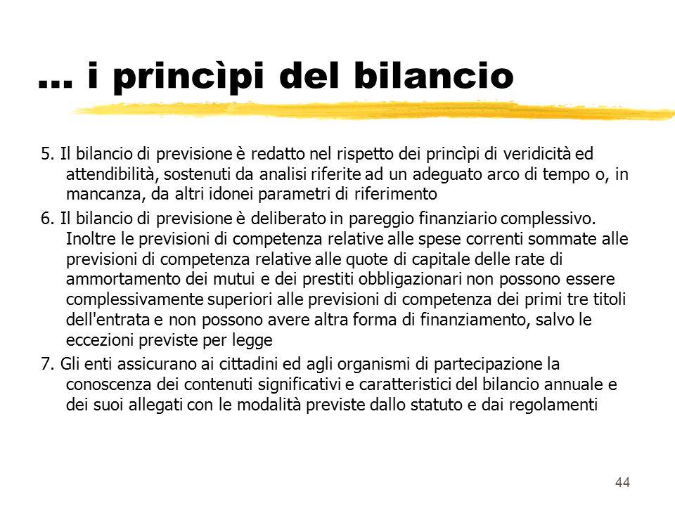 44 … i princìpi del bilancio 5. Il bilancio di previsione è redatto nel rispetto dei princìpi di veridicità ed attendibilità, sostenuti da analisi rif