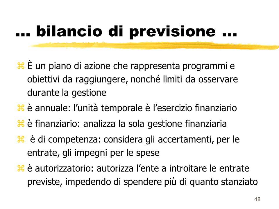48 … bilancio di previsione... zÈ un piano di azione che rappresenta programmi e obiettivi da raggiungere, nonché limiti da osservare durante la gesti