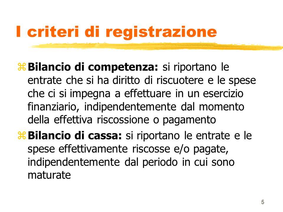 5 I criteri di registrazione zBilancio di competenza: si riportano le entrate che si ha diritto di riscuotere e le spese che ci si impegna a effettuar
