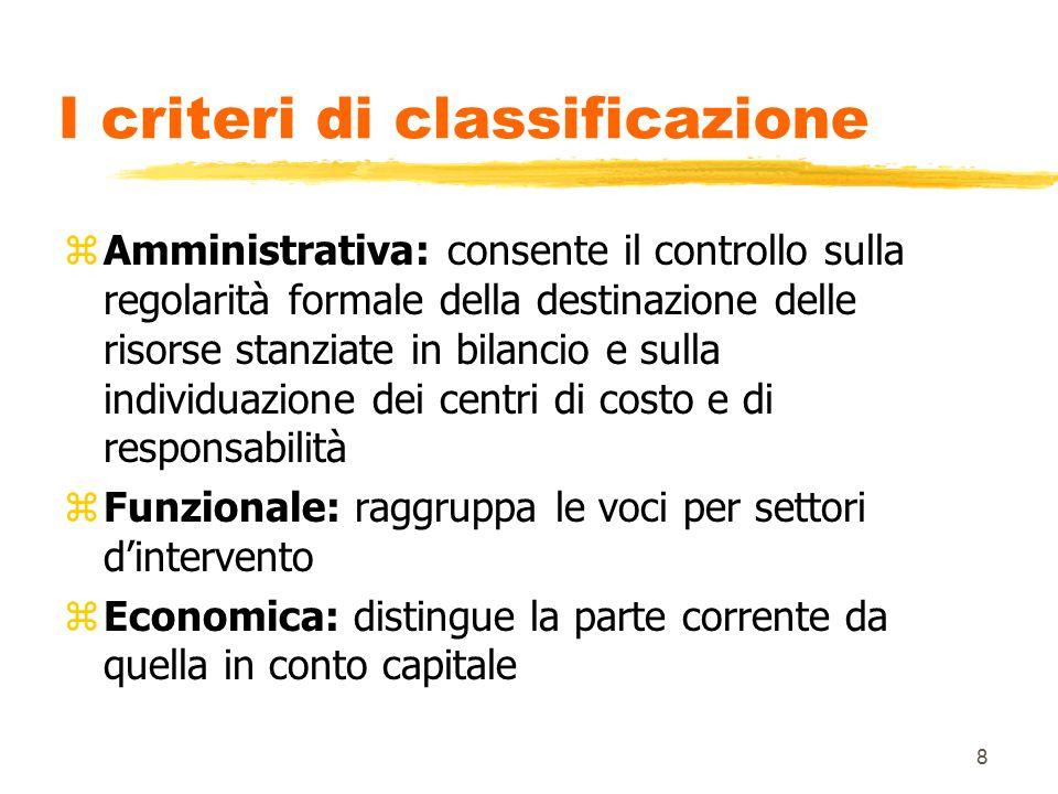 8 I criteri di classificazione zAmministrativa: consente il controllo sulla regolarità formale della destinazione delle risorse stanziate in bilancio