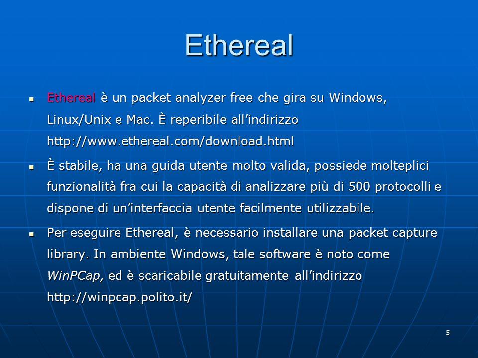 6 Ethereal: interfaccia grafica Finestra principale