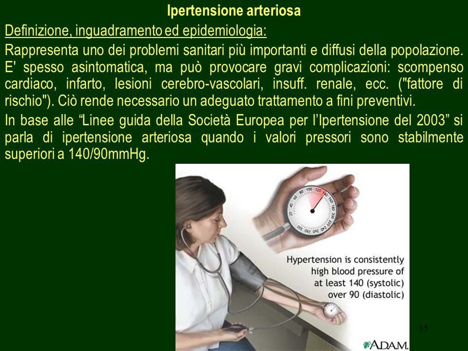 35 Ipertensione arteriosa Definizione, inguadramento ed epidemiologia: Rappresenta uno dei problemi sanitari più importanti e diffusi della popolazione.