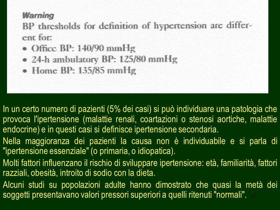 37 In un certo numero di pazienti (5% dei casi) si può individuare una patologia che provoca l ipertensione (malattie renali, coartazioni o stenosi aortiche, malattie endocrine) e in questi casi si definisce ipertensione secondaria.