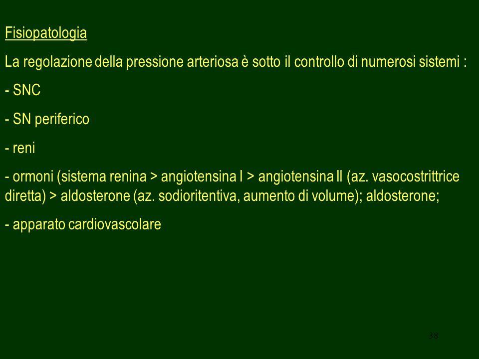 38 Fisiopatologia La regolazione della pressione arteriosa è sotto il controllo di numerosi sistemi : - SNC - SN periferico - reni - ormoni (sistema renina > angiotensina I > angiotensina Il (az.