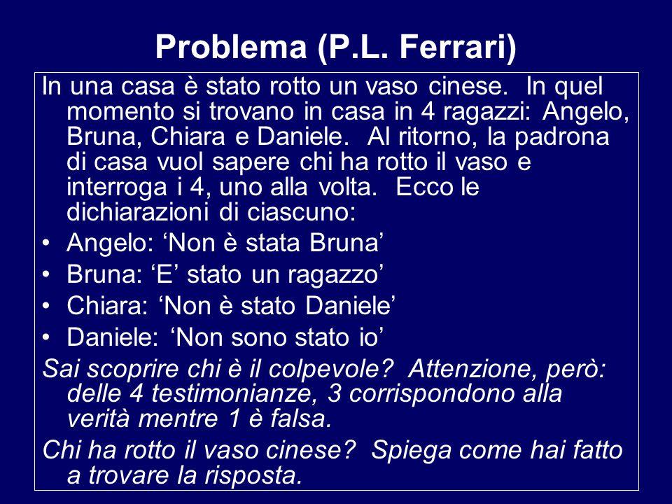 Problema (P.L.Ferrari) In una casa è stato rotto un vaso cinese.