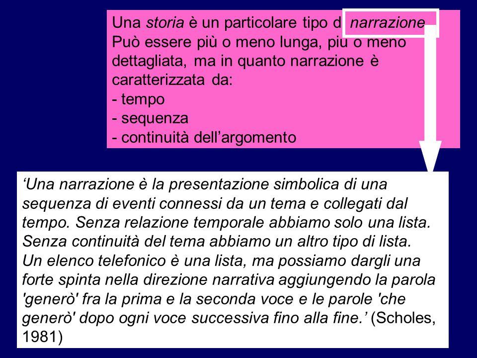 …comprensione di una storia una storia… Tre componenti: (a) Una situazione che presenta qualche conflitto, problema, disagio...