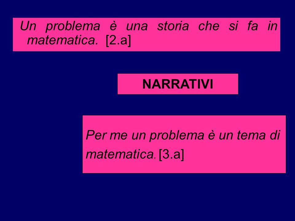 Un problema è una storia che si fa in matematica. [2.a] Per me un problema è un tema di matematica. [3.a] NARRATIVI