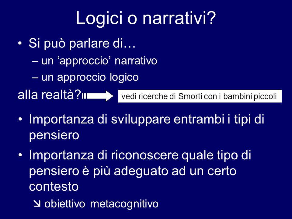 Logici o narrativi? Si può parlare di… –un 'approccio' narrativo –un approccio logico alla realtà? vedi ricerche di Smorti con i bambini piccoli Impor