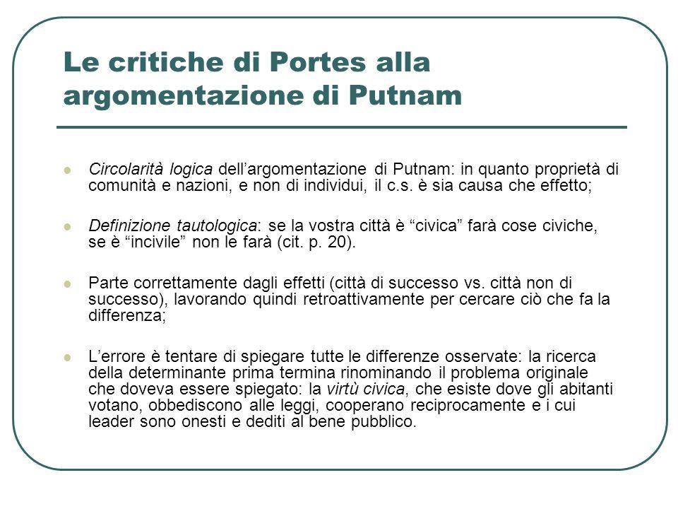 Le critiche di Portes alla argomentazione di Putnam Circolarità logica dell'argomentazione di Putnam: in quanto proprietà di comunità e nazioni, e non di individui, il c.s.