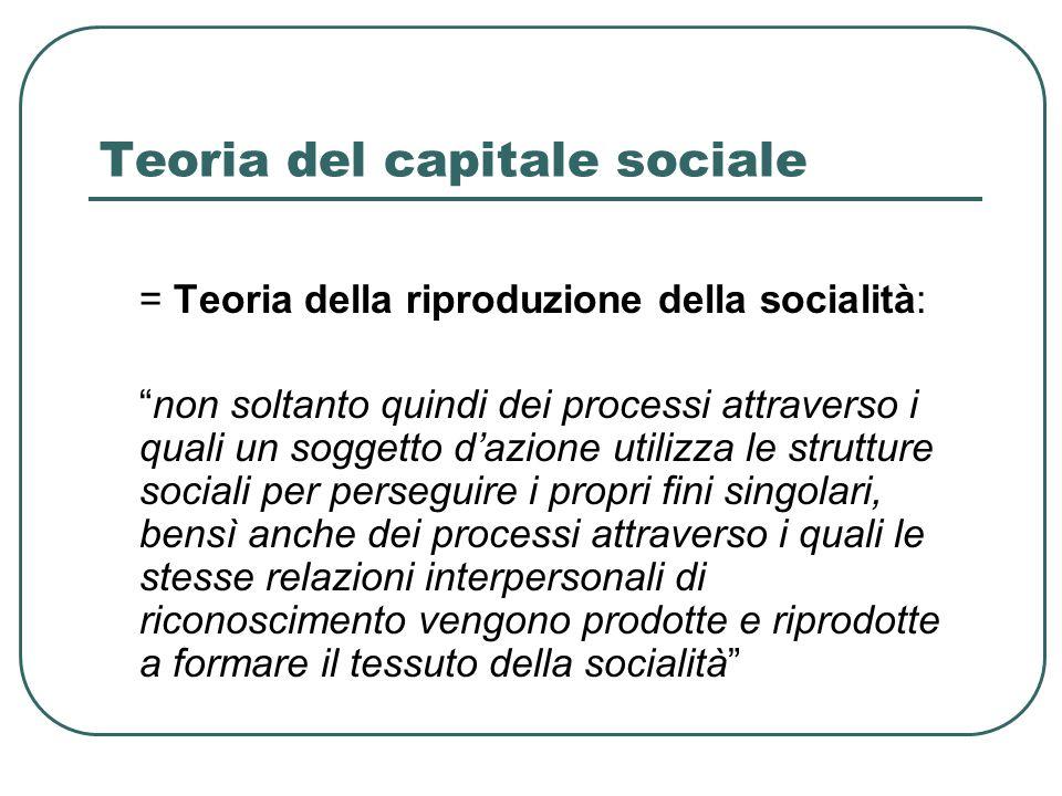 Teoria del capitale sociale = Teoria della riproduzione della socialità: non soltanto quindi dei processi attraverso i quali un soggetto d'azione utilizza le strutture sociali per perseguire i propri fini singolari, bensì anche dei processi attraverso i quali le stesse relazioni interpersonali di riconoscimento vengono prodotte e riprodotte a formare il tessuto della socialità